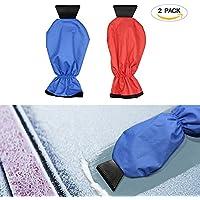 Raschietto per ghiaccio Guanti Ecooltek impermeabile finestra/parabrezza neve raschietto con guanto e manico lungo neve ghiaccio raschietto per auto e camion, confezione da 2blu e colore rosso