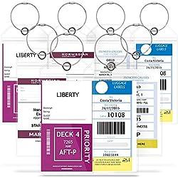 Greatshield (8pcs Étiquettes à Bagages - Étiquettes de croisière Porte-Bagages pour Bagages Zip Seal Boucles en Acier PVC épais - Accessoires de Voyage Bagages ID Tags -Nom Tags - Étiquette de Valise