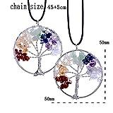 Tocoss (TM) (cadeau pour les meilleurs amis) La vie ¨¤ la main arbre pendentif en forme de coeur 7 Chakra ¨¦clats naturel arc de cristal de quartz pour les femmes Colliers hommes