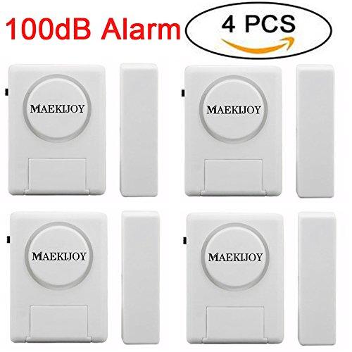 Fenster/ Tür Alarm Kit, [4 Stück] MAEKIJOY Magnetisch getriggerte Mini Einbrecher Alarm für Türen oder Fenster, Zuhause Sicherheit lauter 100dB Einbrecher Alarm (4 Stück)