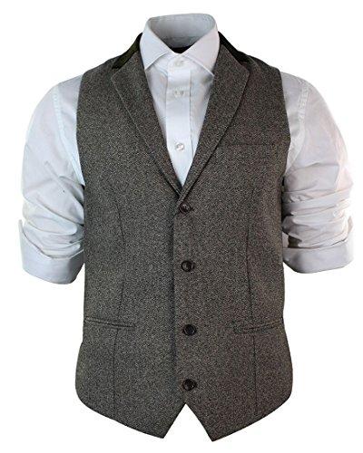 Herrenweste Braun Grau Schwarz Creme Tweed Fischgräte Vintage Eng