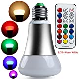 Lilys Gift 10W Silver Colorful Changing LED Bulb Light Lamp with Remote Control Warm White