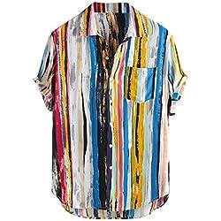 Innerternet-Camisa de Hombre,étnico Estilo Camisa de Manga Corta con Estampado de Rayas de Solapa en Color para Hombre de la Moda de Verano, M-XXXXL