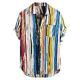 UJUNAOR Camicia Uomo Slim Fit Manica Corta Button Down Elegante Stampa a Righe Hawaiana Graphic Fashion(Medium,Multicolor-1)