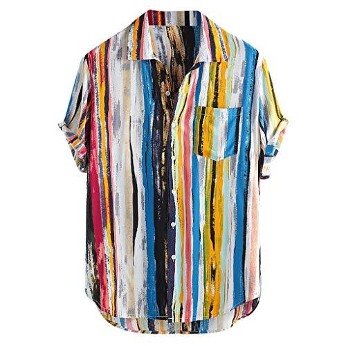 friendGG❤Herren Hemden Outdoor Fun-T-Shirts Sport & Freizeit Herrenbekleidung Sportswear-Shirts Hemden Sommer Mode Top Herren Multi Color Lump Brusttasche Kurzarm Rundsaum Lose Hemden Bluse