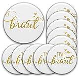 Set JGA Buttons #27: 1 x Braut Button 76 mm 10 x Anstecker Team Braut Ø 5,6 cm | Deko/Accessoires für Junggesellinnenabschied Hochzeit