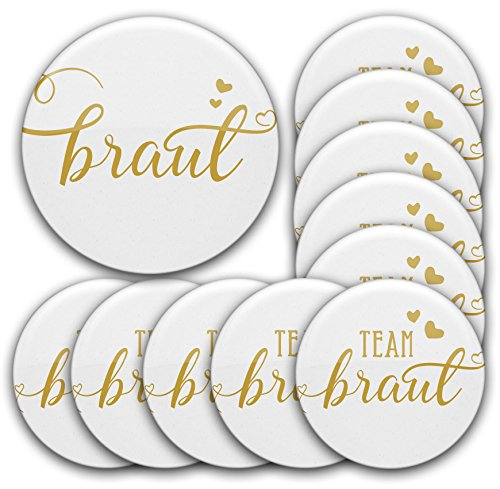 Set JGA Buttons #27: 1 x Braut Button 76 mm + 10 x Anstecker Team Braut Ø 5,6 cm | Deko/Accessoires für Junggesellinnenabschied + Hochzeit