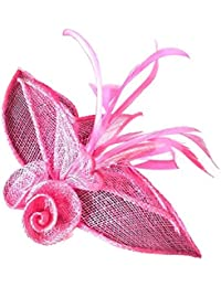 Pink Sinamay Flower and Feather Beak Clip Brooch Corsage Fascinator