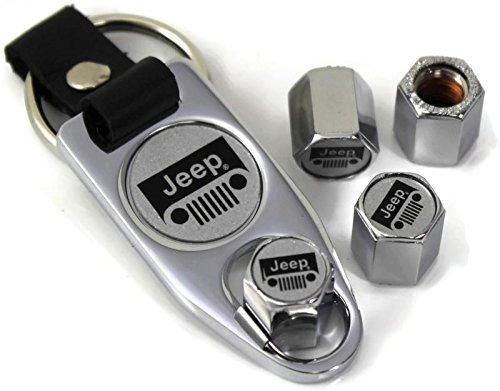 Preisvergleich Produktbild dantegts Jeep Grill weiß Rad Air Reifen Ventilkappen Cover ABS-Kunststoff/W Schlüsselanhänger chrom