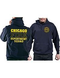 Sweatshirt à capuche Chicago Fire Dept. dans bleu marine, Squad Company avec emblème et inscription standard en jaune
