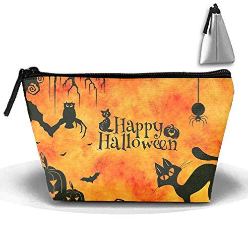 Halloween Black Cat Cosmetic travel Bag, Waterproof Toiletry Clutch Pouch Beach Trapezoid Handbag Organizer