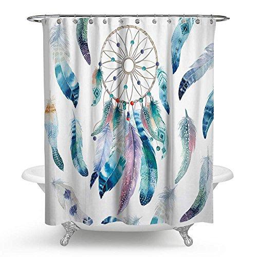 ZHH Dream Catcher Vorhang für die Dusche, Wasserdicht Schimmelresistent Polyester Badezimmer Vorhang mit Haken, 177,8x 177,8cm 70