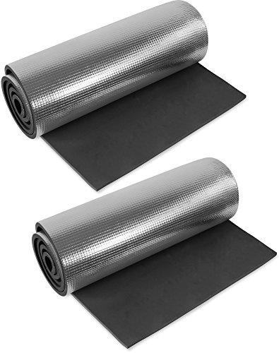normani 1, 2, 3 oder 5 Ultraleichte Isomatten mit Aluminiumbeschichtung/Alu-Thermomatte Isomatte Farbe Schwarz / 2 Stück