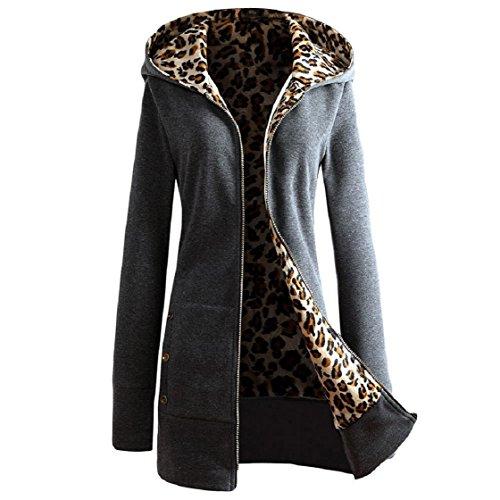 Vovotrade ❀❀Keeping chaud Velvet 1PC femmes plus Manteau épaissie Capuche Leopard Zipper Gris foncé