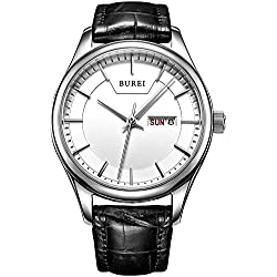 BUREI Women's Day and Date Calendar Dress White Dial Quartz Watch Wristwatch with Black Leather Strap