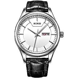 BUREI Women's Day and Date Calendar Dress White Dial Quartz Watch Wristwatch with Black Leather Strap