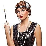 20er Jahre Kostüm Set Charleston Mode Zubehör Stirnband, Kette, Ohrringe, Zigarettenspitze Flapper Accessoires Diva Kostümzubehör Gatsby Femme Fatale Faschingszubehör Goldene Zwanziger Mottoparty