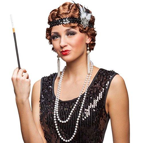 20er Jahre Kostüm Set Charleston Mode Zubehör Stirnband, Kette, Ohrringe, Zigarettenspitze Flapper Accessoires Diva Kostümzubehör Gatsby Femme Fatale Faschingszubehör Goldene Zwanziger - Diva Kostüm Set