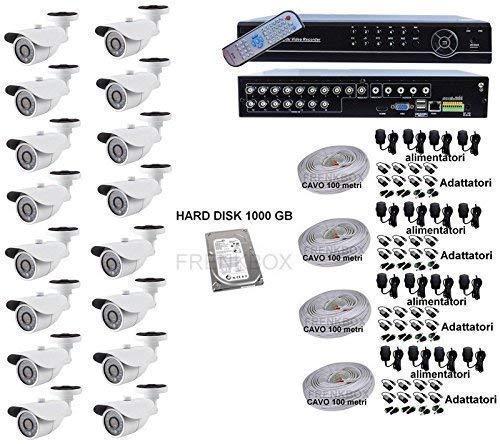 Kit Videoüberwachung DVR P2P 16CH 1TB Kameras HD 1200TVL Kabel 400m (16 Ch Dvr-kit)
