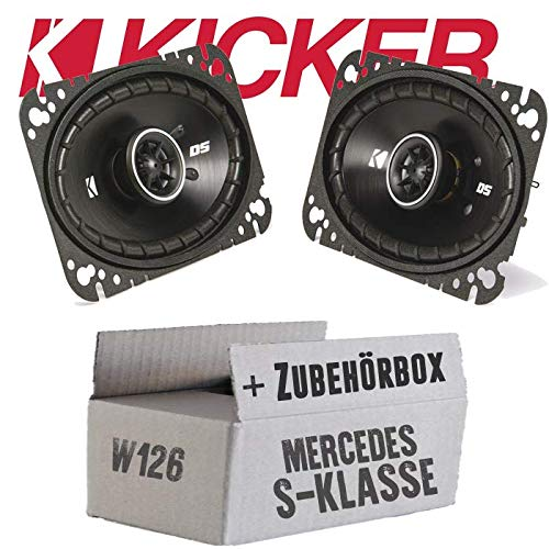 lassse Front Heck - Kicker DSC460-4x6 Zoll (10x16cm) Oval Koax Lautsprecher - Einbauset für Mercedes W126 S- JUST SOUND best choice for caraudio - Audio-4x6