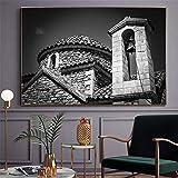 NIMCG Edificio de la Iglesia Lienzo Pintura Asphalt Road Ocean Horizon Poster Art Imagen de la Pared para la decoración de la Sala de Estar (sin Marco) A3 20x30CM