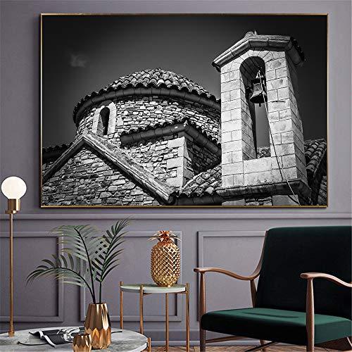 NIMCG Edificio su Tela Dipinto su Tela Strada asfaltata Oceano Orizzonte Poster Arte Immagine murale per Soggiorno Decorazione (Senza Cornice) A3 50x70 CM