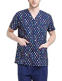 Uniforme Médico Enfermera Sanitaria con Casaca y Pantalones, Ropa Quirúrgica de Manga Corta Bata de