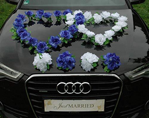 DOPPEL HERZ Auto Schmuck Braut Paar Rose Deko Dekoration Autoschmuck Hochzeit Car Auto Wedding Deko Ratan (Blau / Reinweiß) (Hochzeit Blau Dekorationen)
