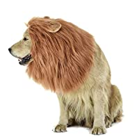 Generic Lion Mane Wig for Dog and Cat Costume with Ears Pet Adjustable Comfortable Fancy Lion Hair Dog Clothes Dress for Halloween Christmas Easter Festival Party Activity (Dog- Light Brown)