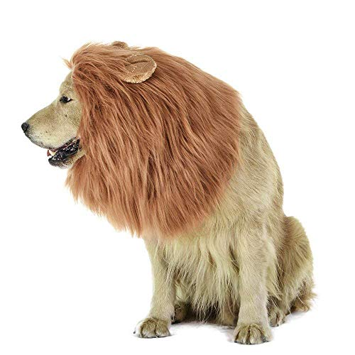 MiLuck Lion Mähne Perücke für Hund und Katze Kostüm mit Ohren Pet Einstellbare Komfortable Phantasie Lion Hair Hund Kleidung Kleid für Halloween Weihnachten Ostern Festival Party Aktivität(Dog- Light Brown)