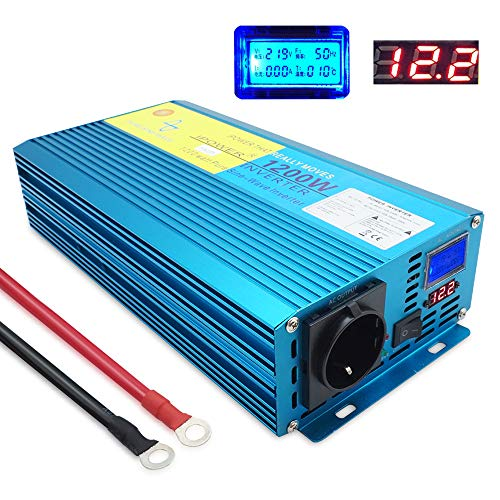 Yinleader Spannungswandler 1200W/2400W 12V 230V Reiner Sinus Wechselrichter LED+LCD Power Inverter mit 1 Steckdose und LCD-Display, für Auto, Wohnwagen, Boot, Camping, Reisen