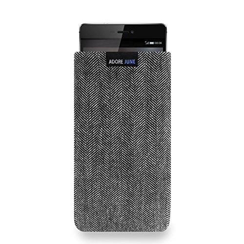 Adore June Business Tasche für Huawei P8 Handytasche aus charakteristischem Fischgrat Stoff - Grau/Schwarz | Schutztasche Zubehör mit Bildschirm Reinigungs-Effekt | Made in Europe