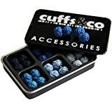 Manschettenknöpfe Knotenoptik, Seide, verschiedene Blautöne, 6 Paar, Geschenkset