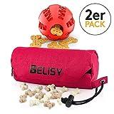 BELISY Intelligentes Hundespielzeug Set Spaßiger Dentalball (7cm) & Futterdummy für große Hunde - Futterbeutel zum Apportieren - Kauspielzeug zur Zahnpflege - Intelligenzspielzeug in Rot