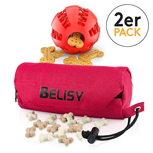 BELISY Intelligentes Hundespielzeug Set Spaßiger Dentalball (5cm) & Futterdummy für Hunde - Futterbeutel zum Apportieren - Kauspielzeug zur Zahnpflege - Langlebiges Intelligenzspielzeug in Rot