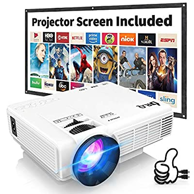 DR.Q HI-04 Projector with Projection Screen 1080P Full HD and 170'' Display Supported, Upgraded 4500 Lux Video Projector Compatible with TV Stick PS4 HDMI VGA TF AV USB, Home Theater Projector, White