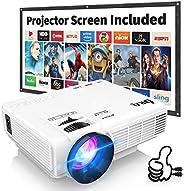 Proyector DR.Q con Pantalla de Proyección, 5000 Lúmenes Proyector de Video Soporta Full HD 1080P, Proyector Mi