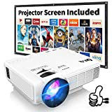 Proyector DR.Q HI-04 con Pantalla de Proyección, Proyector de Video Soporta 1080P HD, Proyector Mini Compatible con TV Stick PS4 Xbox Wii HDMI VGA SD AV USB, Home Theater Proyector, Blanco.