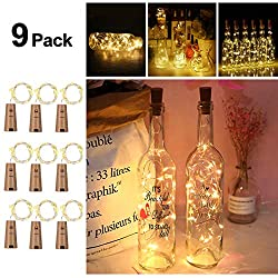 Opard Wine Bottle Lights with Cork 9 Pack Copper Wire Fairy Lights Bottle Lamp Warm White 2M/20 LEDs Battery Operated for Parties, Wedding, Christmas (Warm White, 9 Pack)