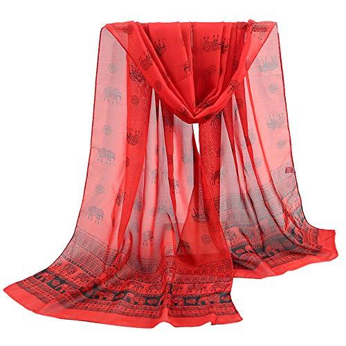 JURTEE Damen Indische Art Elefant Drucken Schal Stola Halstuch Tuch aus Chiffon