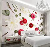 Carta da parati 400x280 cm Fotomurali Fiore Rosa 3D Con Le Foglie Secche Murale Decorazione da Muro Poster Gigante Design Carta per pareti