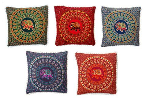 Rastogi artesanías pompón de Color Blanco Elefante Mandala Manta Funda de Almohada Funda para sofá...
