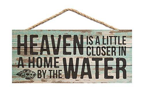 Monsety Holz Schilder für Das Handwerk Himmel Näher Home by Wasser Blaugrün Distressed 25x 11cm Schild aus Holz Wandschild Schild Decor