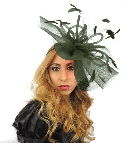 Hats By Cressida Grand-Dame-Haarschmuck, 30,5cm, durchsichtiges Material, Ascot/Kentucky/Derby-Haarschmuck mit Haarband Gr. Einheitsgröße, armee-grün (Hat Derby-kirche)