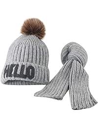 ODJOY-FAN-bambino Palla capelli grandi Lana Cappello lavorato a maglia  sciarpa - Moda carino neonato mantenere caldo Cappelli… 822fe6135cfa