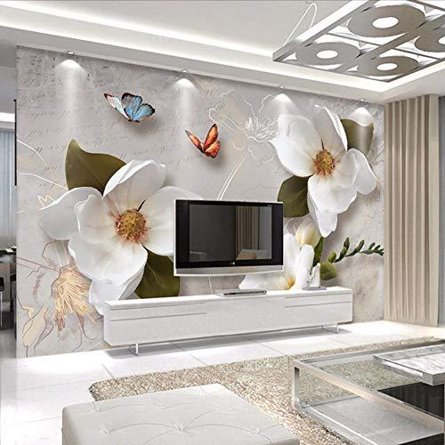 Lsfhb Benutzerdefinierte 3D Wandbilder Tapete Europäischen Stil Retro Blume Schmetterling Desktop Wallpaper Für Wohnzimmer Tv Hintergrund Wandbild-400X280Cm