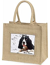 Cocker Spaniel in Snow 'Yours Forever' Large Natural Jute Shopping Bag Christmas