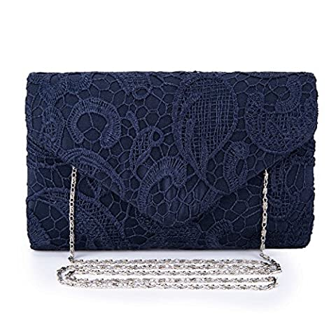 Kaever Ladies Satin Lace Clutch Bag Shoulder Chain Elegant Wedding Evening Bags (Navy Blue)
