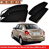 #7: Autofact Magnetic Window Sunshades/Curtains for Maruti Swift Dzire (2005 to 2011) [Set of 4pc - Front 2pc with Zipper ; Rear 2pc Without Zipper] (Black)