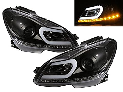 CrazyTheGod W204 2012+ Facelift CCFL Projector Headlight Headlamp 2013 New R8 Style w/LED Indicator BLACK for Mercedes-Benz